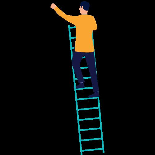 cartoon man climbing ladder
